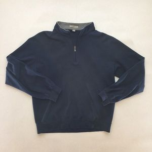 PETER MILLAR Men Medium 1/4 Zip Blue Cotton Golf